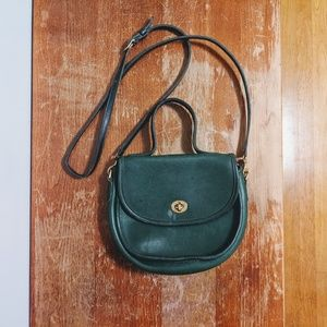 Vintage Green Leather Coach Crossbody Purse